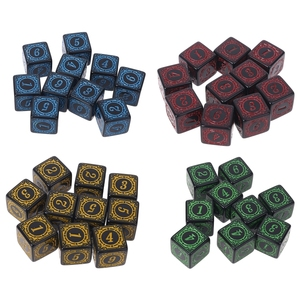 OOTDTY 10Pcs D6 Polyhedral Dice Square Edged Numbers 6 Sided Dices Beads Table Board Role Play Game for Bar Club Party