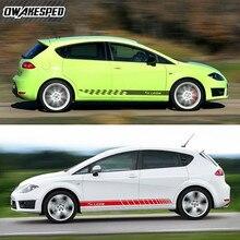 ل سيات ليون FR TGI ST SC TSI Cupra سيارة الباب تنورة ملصقات الرياضة التصميم الجسم ديكور ملصق حائط من الفينيل كلا الجانبين سباق المشارب