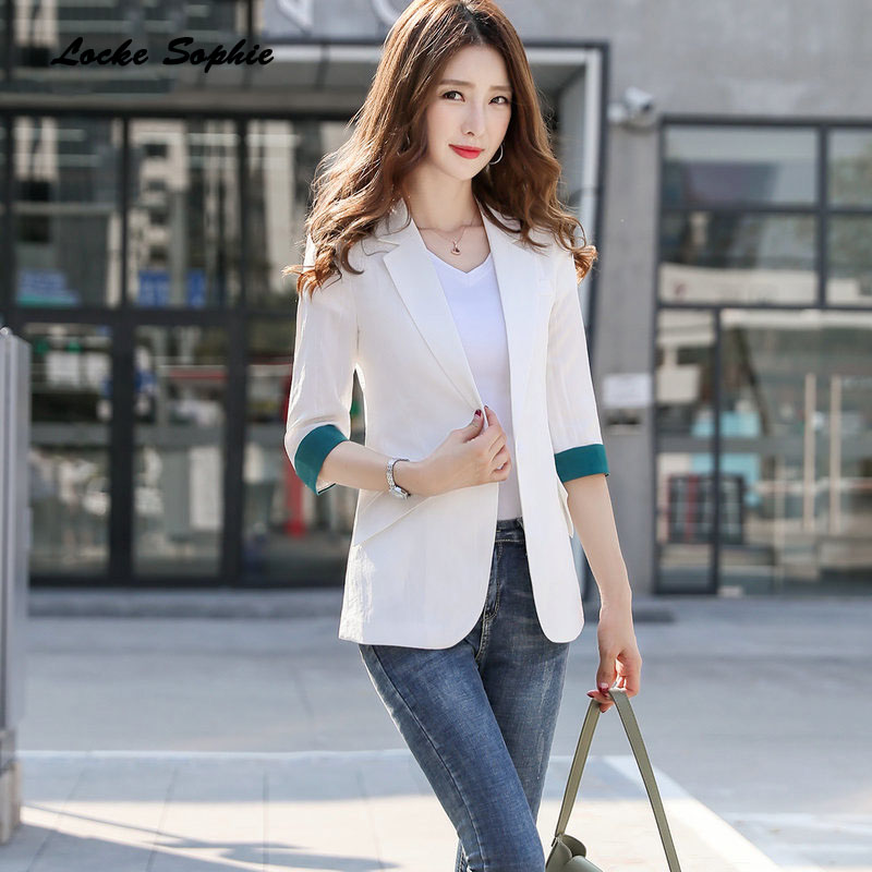 1pcs Women Plus Size Blazers Coats 2020 Spring Cotton Blend Middle Sleeve Small Suits Jackets Ladies Skinny Office Blazers Suits