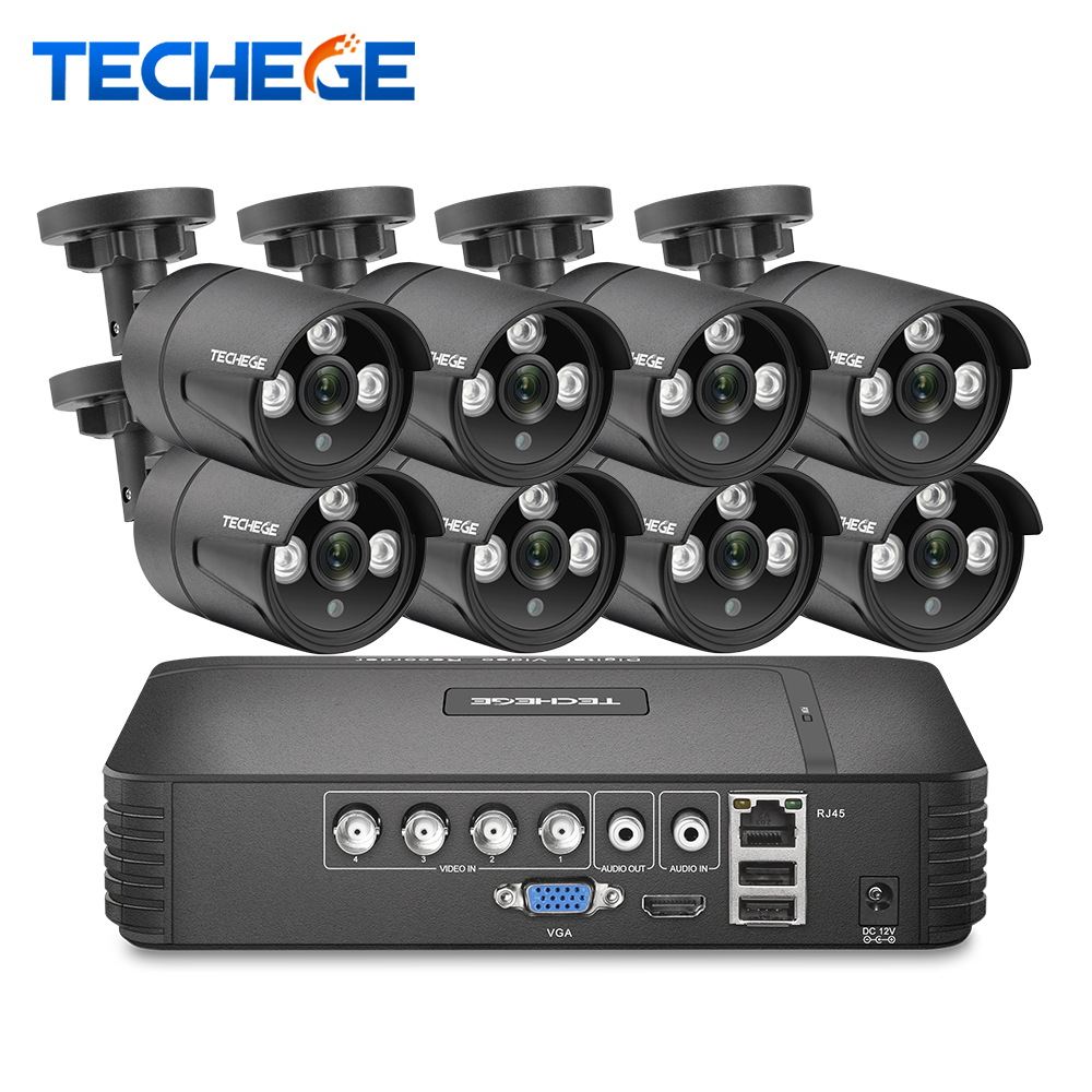 Techege H.264 8CH CCTV System 1080P/1080N Outdoor Wetter Sicherheit Kamera DVR Kit Tag/Nacht Home Video überwachung System
