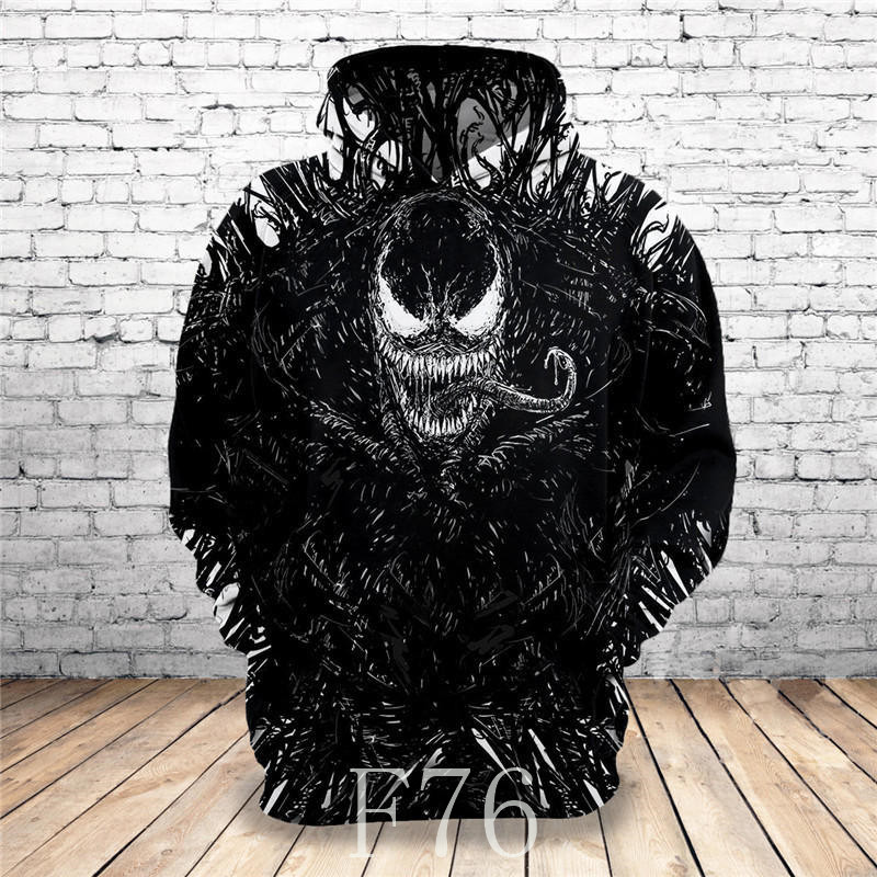 2019 Hot New Sweatshirt Customize Design Venom 3D Printed Hoodies Unique Pullovers Tops Men Clothing Drop Shipping F76