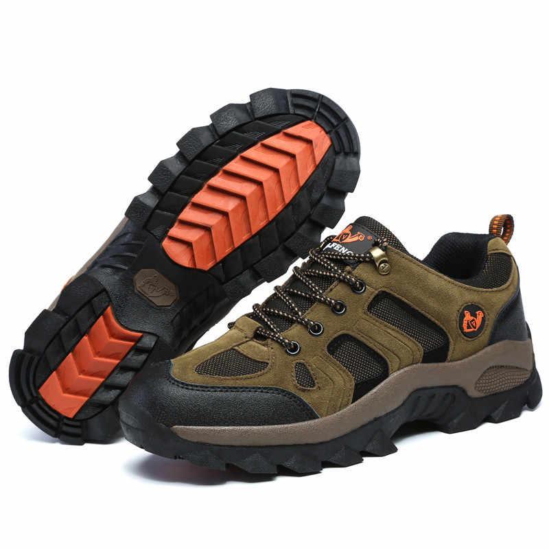 Moda erkek yürüyüş ayakkabıları sonbahar sıcak yürüyüş botları dağ tırmanma ayakkabıları açık kış spor erkekler Trekking Sneakers su geçirmez