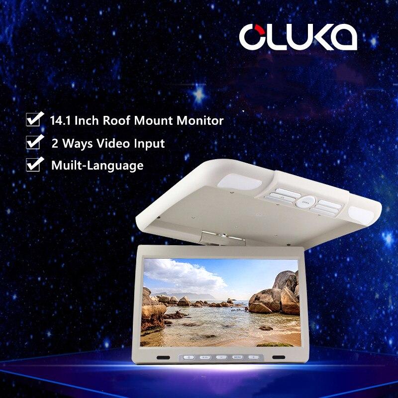 14,1 дюймов бизнес автомобильный держатель на крышу вращающийся монитор откидной экран OSD язык ЖК TFT цифровой широкий экран мониторы