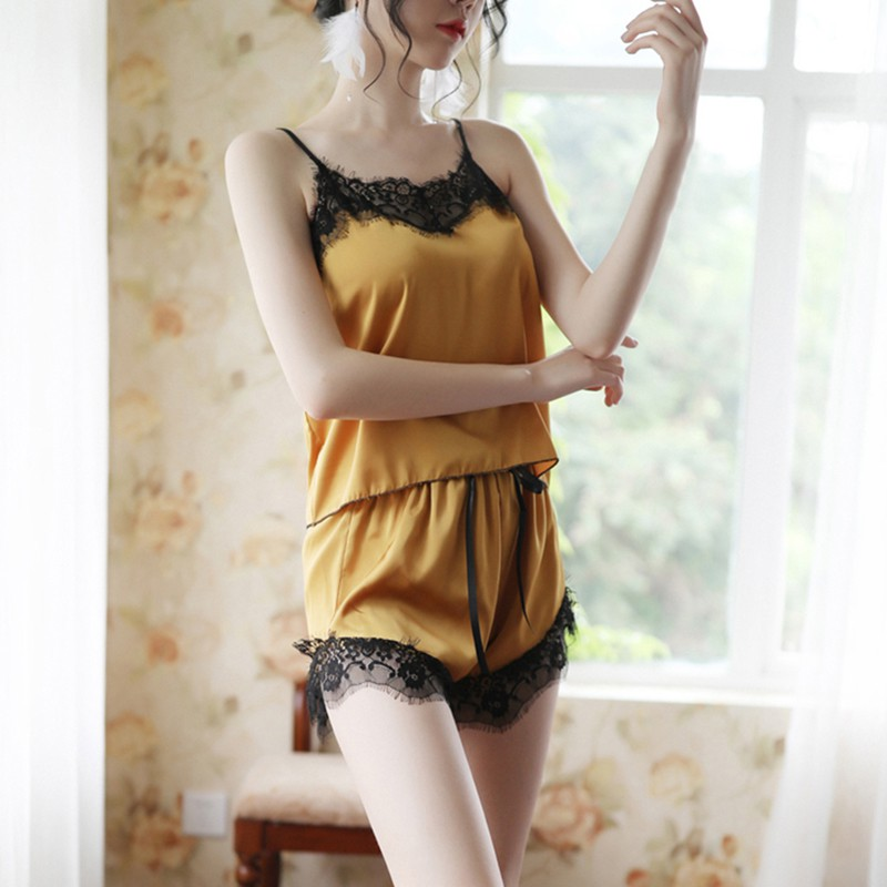 Sexy Lace Pajamas For Women Sleepwear Set Solid Color Nightgowns Tank Top And Lace Up Shorts Thin Homewear Night Gown