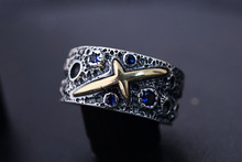 925 silver ring sterling starry sky star couple retro fashion new