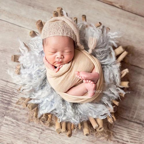 Baby Photography Basket Log Smooth Branches Wooden Basin Newborn Baby Posing Props Photo Studio Creative Props Infant Shoot Prop