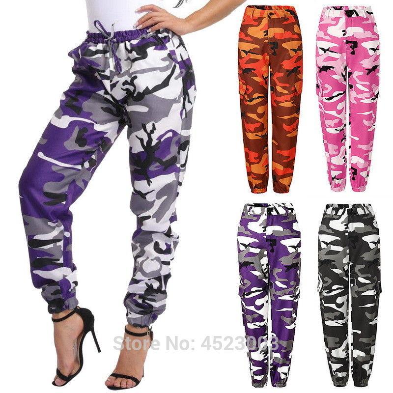 Womens Camo Cargo Trousers Casual Pants 1