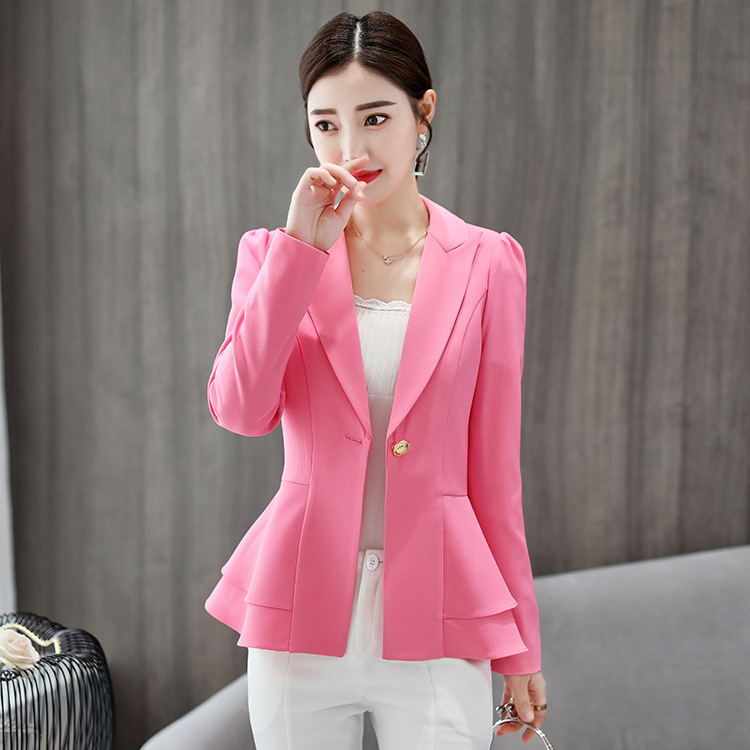 Samgpilee Stylish Women Cotton Blend Slim Business Blazers Work Wear Comfortable Suit Outwear New 2019 Autumn Spring