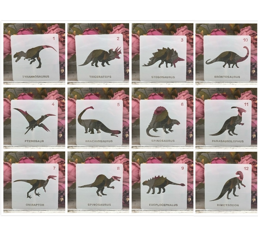 12Pcs/Lot 5inch Dinosaur 12 Types DIY Layering Stencils Painting Scrapbook Coloring Embossing Album Decorative Template