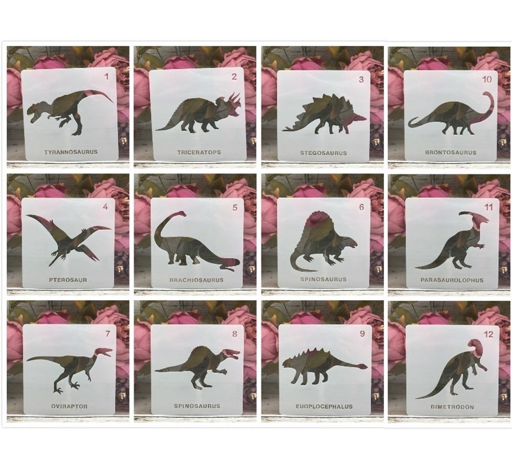 12Pcs/Lot 5inch Dinosaur 12 Types DIY Layering Stencils Painting Scrapbook Coloring Embossing Album Decorative Template