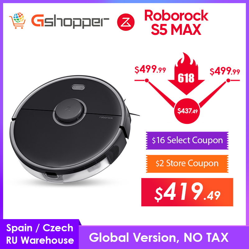 Gshopper Roborock S5 Max Robot Vacuum Cleaner S5max cordless for home upgrade of S50 S55 collect pet hairs|Vacuum Cleaners|   - AliExpress
