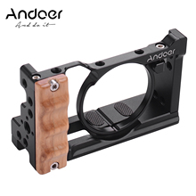 Andoer Camera Cage For Sony RX100 VI/VII with Cold Shoe Mount 1/4 Screw Wooden Handgrip Vlogging Shooting Cameras Accessories