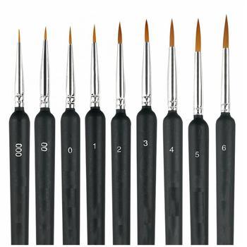 9pcs Brush Set Wolf Fine Hook Line Pen Watercolor Pen Oil Pen Nail Pen Extended Painting Manicure Tool