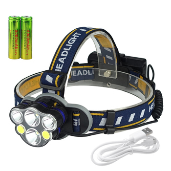 Rechargeable 6 LED lights COB headlights for camping fishing waterproof flashlight with 2 batteries gbtiger with 2 batteries