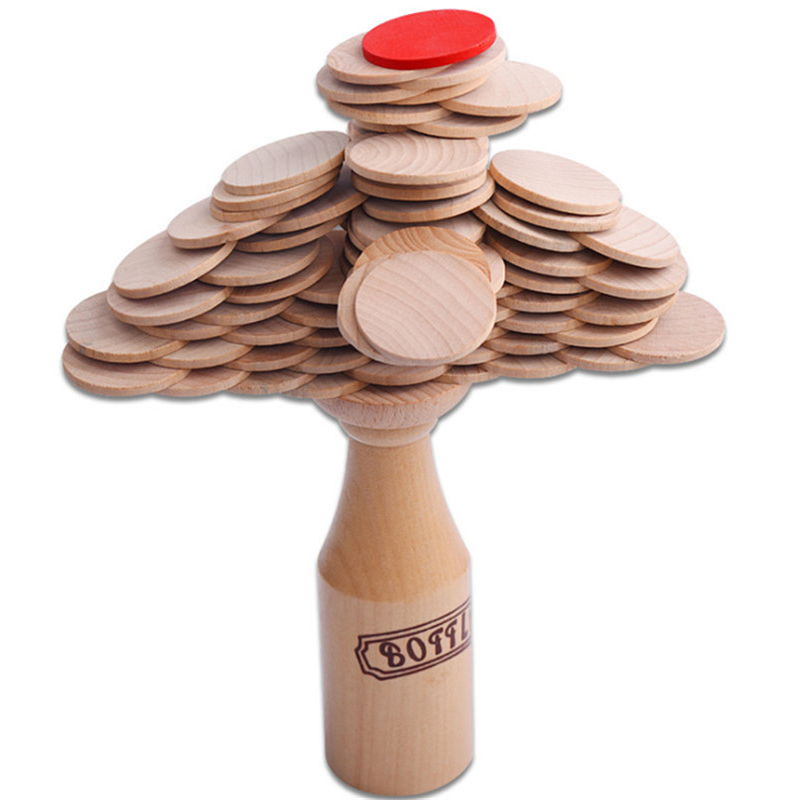 Wooden Stacking Block Kids Bottle Challenge Puzzle Toy Bar Club Cheering Game Mental Props