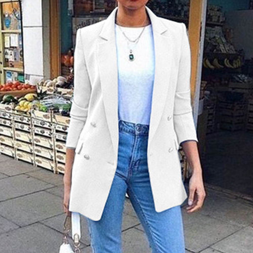 2019 New Womens Blazer Suit Jackets Long Solid Coats Office Ladies Turn Down Collar Jacket Casual Female Slim Fit Outerwear Coat