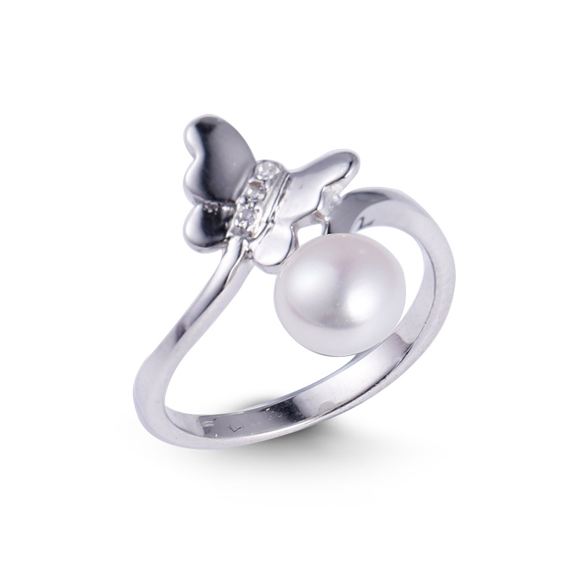 925 Sterling Silver Jewelry White Pearl Butterfly Ring SaleWedding Fine