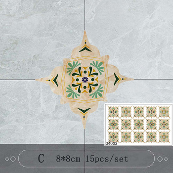 15PCS 8x8cm Retro Design Home Decoration Stickers Wall Stickers Self Adhesive Floor Wall Ceramic Tile Sticker DIY Wall Decor 10