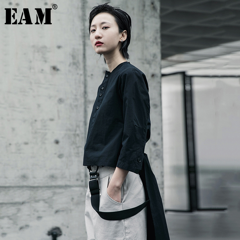 [EAM] Women Black Ribbon Split Joint Blouse New Stand Collar Long Sleeve Loose Fit Shirt Fashion Tide Spring Autumn 2020 1R605