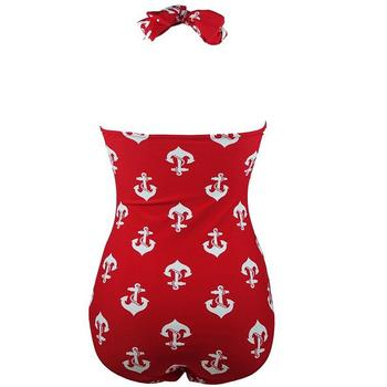 2020 Super Plus Size Sea anchor printing one piece swimsuit for woman 2020 plus size swimsuit beach wear 3