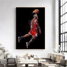 Pintura de Arte Abstracto Michael cartel de Jordan Fly Dunk baloncesto cuadros de pared para la decoración de la sala de estar dormitorio deporte lona