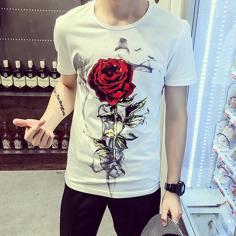 2020 New Short-sleeved Men's Trend Korean Style Of The All Matching Slim Couple Dress T-shirt Printing Roses Half-sleeve