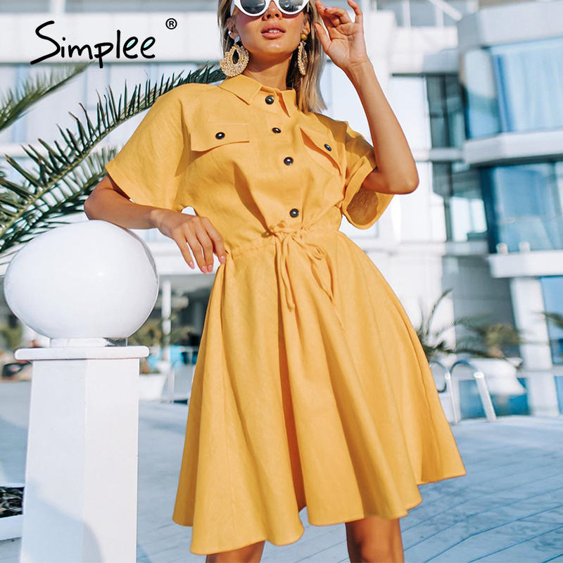 Simplee Elegant Women Office Dress Casual Solid Buttons Female Loose Sleeve Shirt Sundress Summer Style Ladies A Line Midi Dress