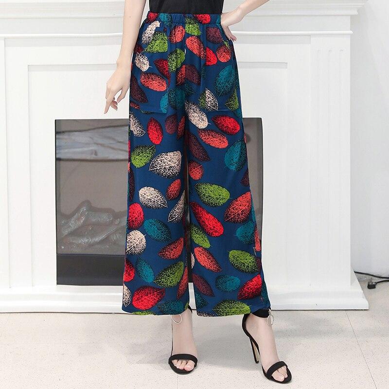 Summer Women Wide Leg Pants  Loose Vintage High Waist Trousers Summer Beach Pants Print Bohemian Casual Plus Size 2020