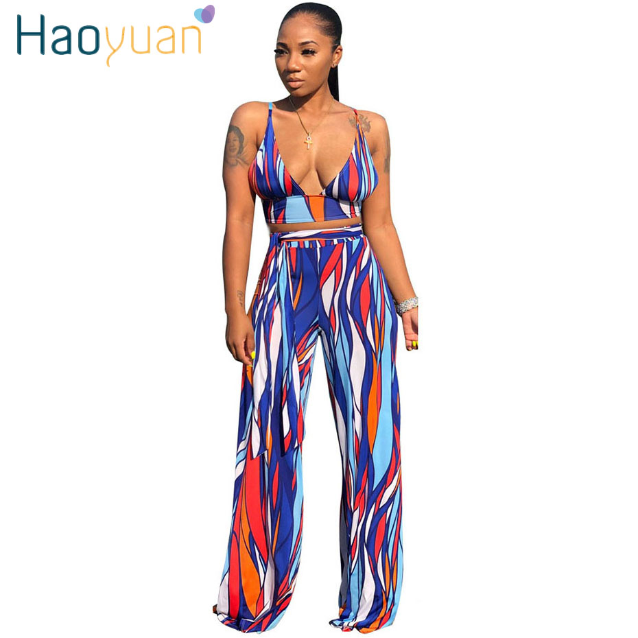 HAOYUAN Striped Print Matching Sets Spaghetti Strap Crop Top and Bandage Wide Leg Pants Set 2 Piece Open Back Club Outfits Set
