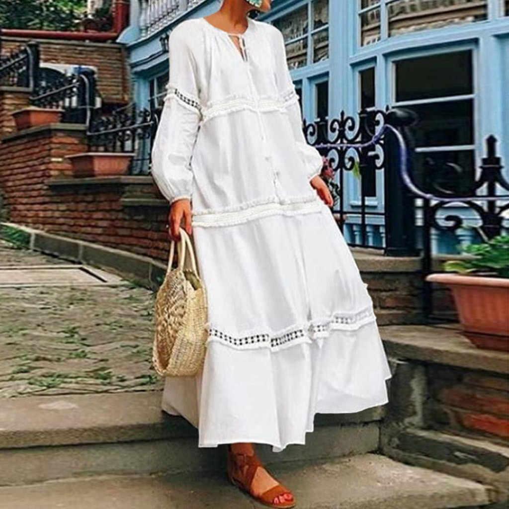 Plus rozmiar 5XL kobiety artystyczne białe sukienki koronkowa szydełkowa, patchworkowa z długim rękawem luźna sukienka elegancka vestidos de festa 2019