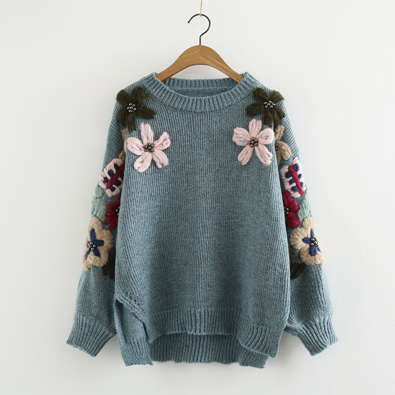 Dc5504 Autumn Building New Style Japanese Style Retro Knit Crew Neck Flower Embroidered Long Sleeve Crew Neck Pullover Sweater T
