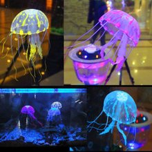 Cute Silicone Glowing Effect Artificial Jellyfish Ornament Fish Toys Tank Aquarium Decoration Moves by Water Current in