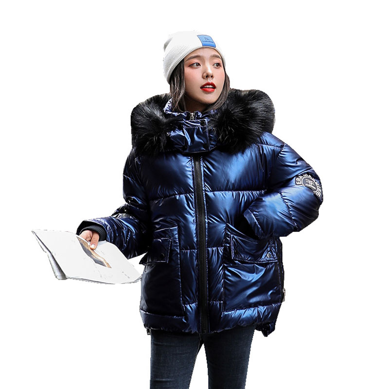 Women Short Detachable Fur Collar Glossy Hooded Oversize Winter Down Coat Student Thick Warm Jacket Cotton Padded Wadded Parkas