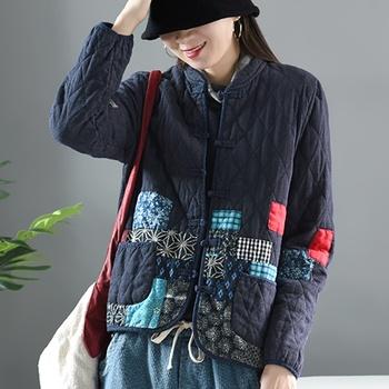 Damskie chińskie bluzki ciepłe zimowe chińskie Top tradycyjne kobiety Patchwork kurtka ocieplana w stylu chińskim odzież damska FF2460 tanie i dobre opinie EASTQUEEN Octan COTTON Poliester Topy WOMEN Sztruks