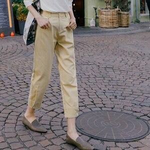 Image 4 - INMAN 2020 printemps nouveauté littéraire couleur Pure taille haute bouton jambe ouverture neuf cent navet femmes pantalon