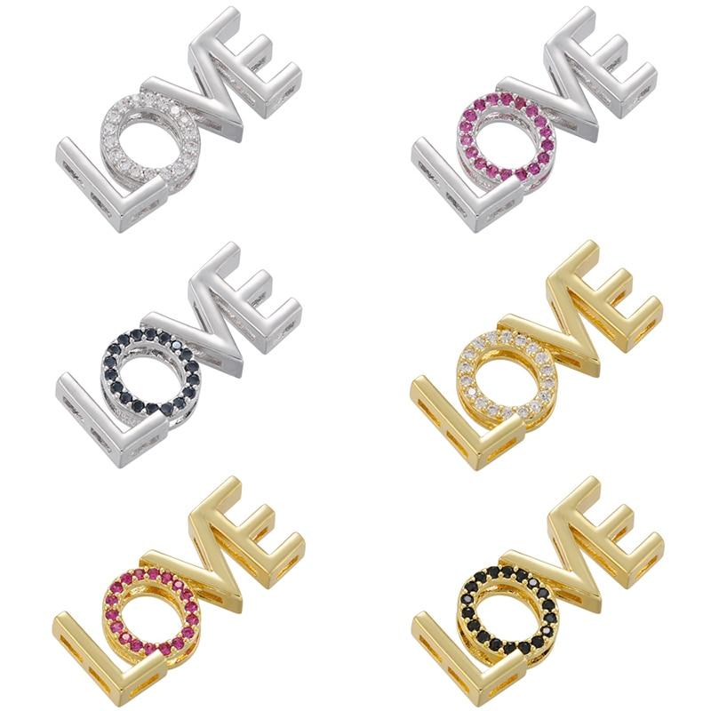 ZHUKOU altın/gümüş renk aşk mektubu boncuk CZ kristal mektubu boncuk DIY el yapımı kolye takı aksesuarları yapımı VE845