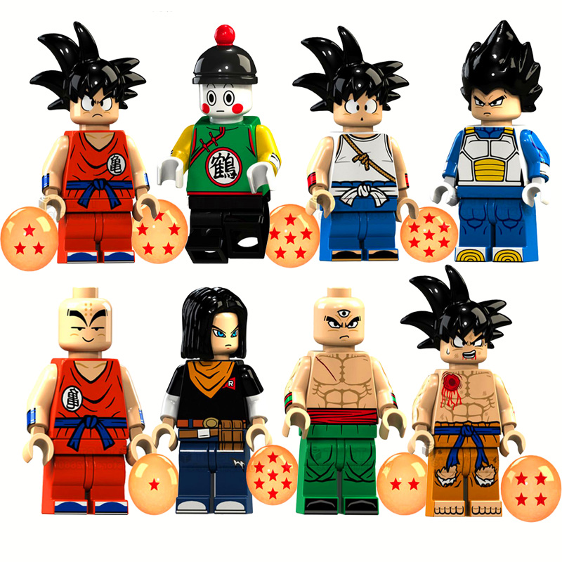 8Pcs/Set Dragon Ball Z Violett Krillin Tien Shinhan Goku Chiaotzu Vegeta Model Building Blocks Bricks Technic Toys For Children