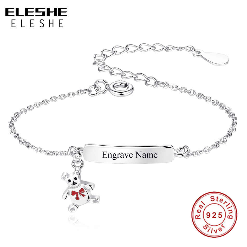 ELESHE Lovely Personalize Jewelry Enamel Teddy Bear Charm Bracelet Custom Engrave Name 925 Sterling Silver Bracelet for Baby Kid