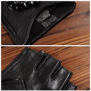 Image 5 - Gours Winter Genuine Leather Gloves Women Fashion Brand Black Stone Driving Fingerless Gloves Ladies Goatskin Mittens GSL040