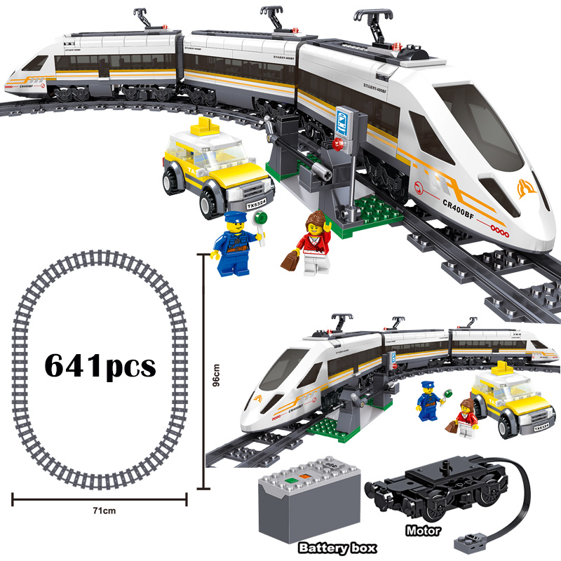 Classic City Train Rail Technic Battery Powered Electric High-speed Railway Building Blocks Bricks Legoingly Toys For Kids Gifts