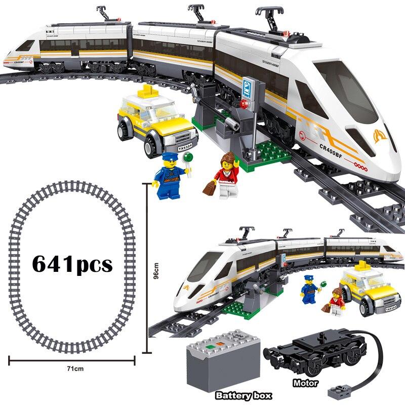Classic City Train Rail Technic Battery Powered Electric High-speed Railway Building Blocks Bricks Legoinglys Toys For Kid Gifts