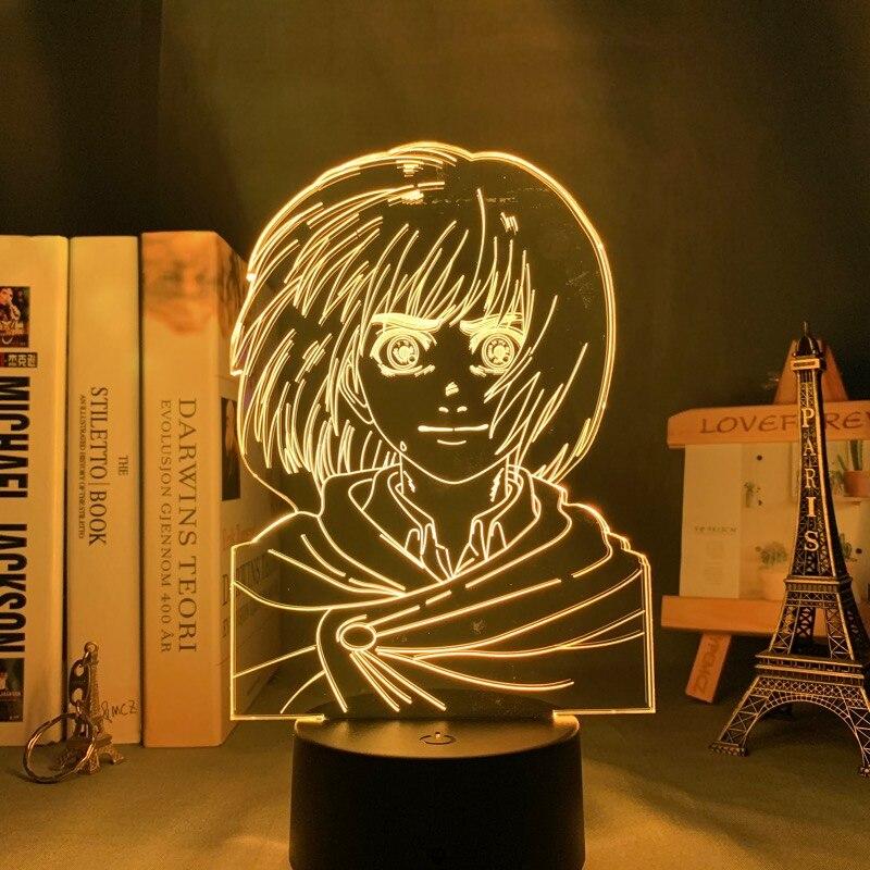 H04f2a4db5c8a4fa0a81752d3b4cbbf6cR Luminária Attack on Titan anime shingeki kyojin 3d lâmpada armin arlert luz para decoração do quarto crianças presente ataque em titan led night light armin arlert