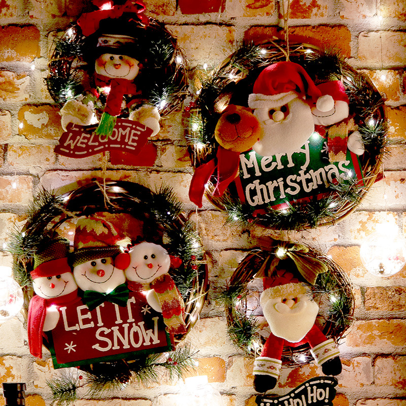Wooden Merry Christmas Garland Wreath Decor Wall Hanging Door Santa Claus Elk Snowman Ornaments Xmas Pendant Home Decor