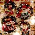 Wooden Merry Christmas Garland Wreath Decor Wall Hanging Door Santa Claus Elk Snowman Ornaments Xmas Pendant Home Decor