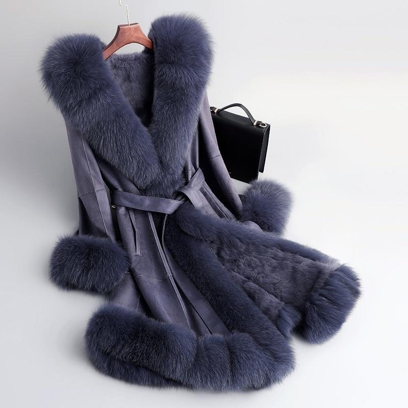 Natural Rabbit Fur Coat Female Real Fox Fur Collar Fur Liner Jacket Women Winter Clothes 2020 Korean Double Faced Top Hiver 0255