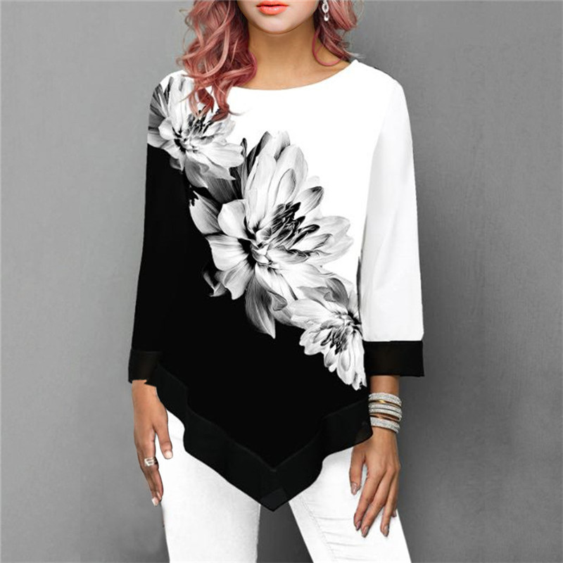 S-5XL T Shirt Women Plus Size Three Quarter Ladies Tee Shirts Floral Print Loose Casual Tops Female Irregular Autumn Clothes 1