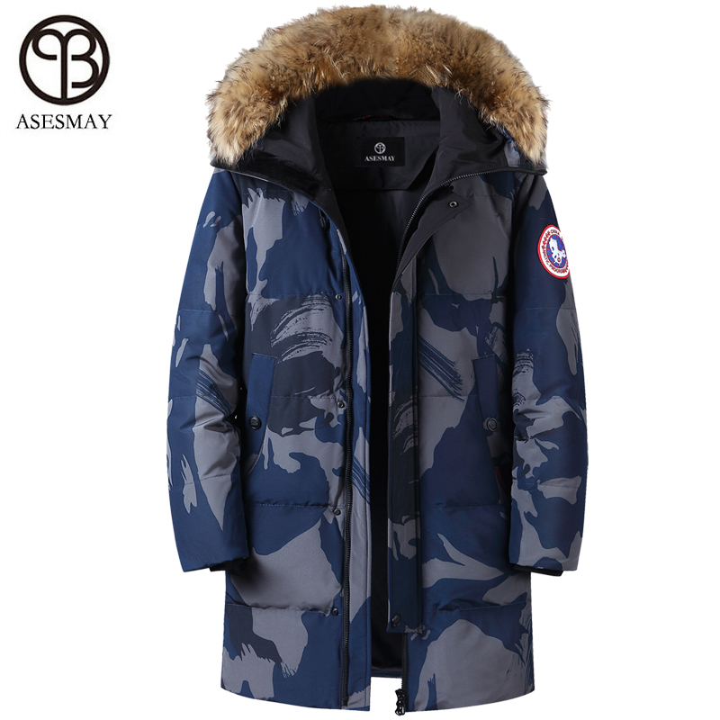 Asesmay Brand Clothing 2019 Men Down Jacket Men's Winter Coats Parkas Stylish Thick Warm Goose Feather Parkas Camouflage 5XL