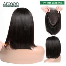 Aircabin 4x4 Short Lace Closure Human Hair Wigs 8-16 Bob Wig For Black Women Natural Peruvian Non Remy