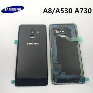 Image 2 - Orijinal yeni SAMSUNG Galaxy A8 A530 A530F A8 + artı A730 arka cam pil kapağı arka kapı konut Case arka cam kapak
