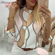 Knowing me Women Autumn Adjustable Sleeve Chains Leisure Top Elegant Pineapple Print Button